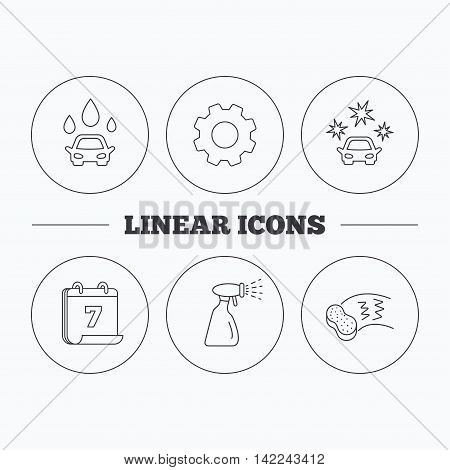 Car wash icons. Automatic cleaning station linear signs. Hand wash, sponge and spray flat line icons. Flat cogwheel and calendar symbols. Linear icons in circle buttons. Vector
