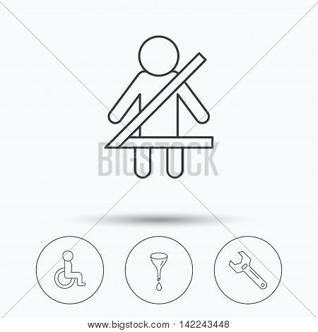 Seat belt, oil change and wrench tool icons. Disabled person linear sign. Linear icons in circle buttons. Flat web symbols. Vector