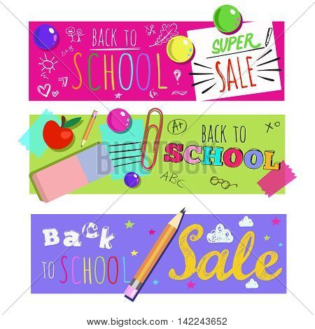 Three colored horizontal back to school banner set with sales and discount descriptions vector illustration