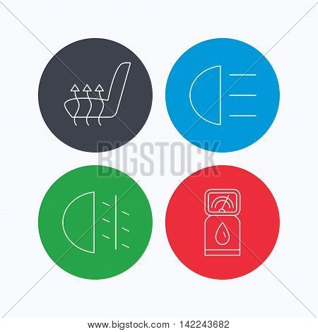 Petrol station, fog lights and heated seats icons. Gas fuel station linear sign. Linear icons on colored buttons. Flat web symbols. Vector