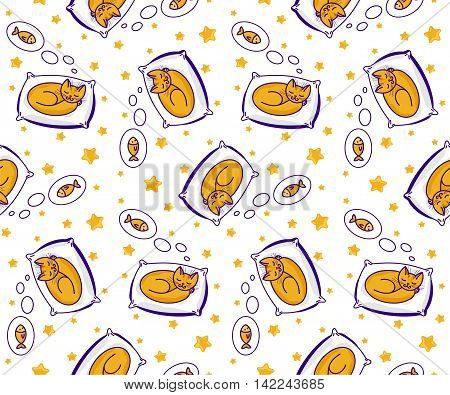 Seamless pattern with cute little cat sleeping on pillow and dreaming of fish. Ginger can on white background. Vector illustration. Pattern for kids.