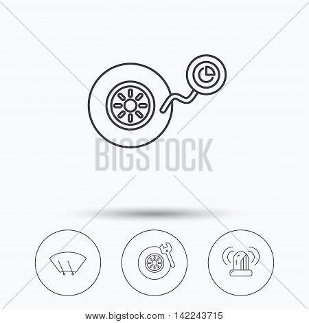 Wheel pressure, tire service and siren alarm icons. Car repair service station linear sign. Linear icons in circle buttons. Flat web symbols. Vector