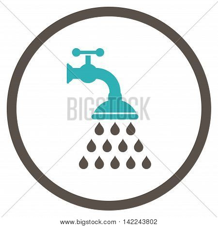 Shower Tap vector icon. Style is bicolor flat rounded iconic symbol, shower tap icon is drawn with grey and cyan colors on a white background.