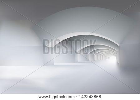 Large empty interior. Vector illustration.
