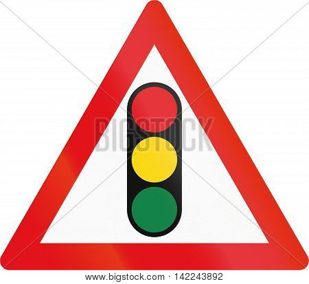Road Sign Used In The African Country Of Botswana - Traffic Signals Ahead