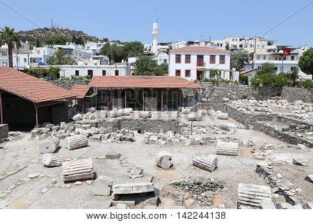Mausoleum At Halicarnassus In Bodrum Town