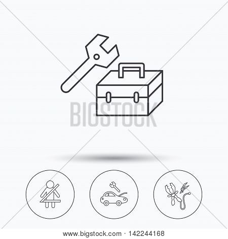 Repair, battery terminal and car service icons. Fasten seat belt linear sign. Linear icons in circle buttons. Flat web symbols. Vector