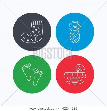 Footprint, cradle and newborn baby icons. Socks linear sign. Linear icons on colored buttons. Flat web symbols. Vector