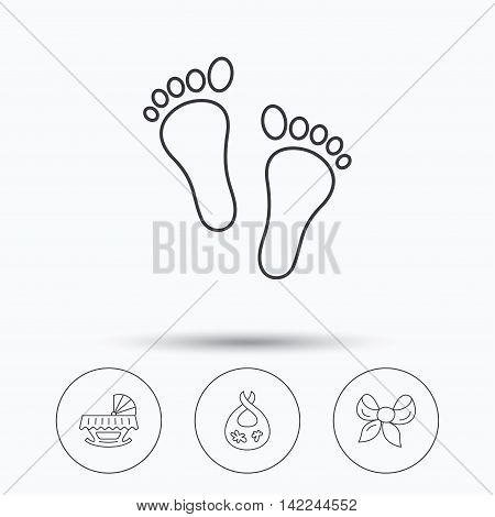 Footprint, cradle and dirty bib icons. Bow linear sign. Linear icons in circle buttons. Flat web symbols. Vector