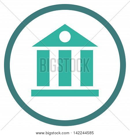 Bank Building vector icon. Style is bicolor flat rounded iconic symbol, bank building icon is drawn with cobalt and cyan colors on a white background.