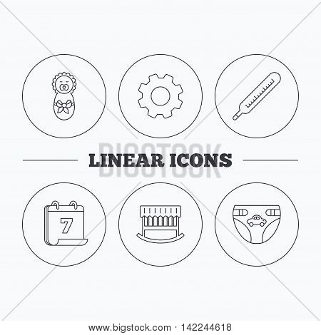 Newborn, diapers and thermometer icons. Cradle bed linear sign. Flat cogwheel and calendar symbols. Linear icons in circle buttons. Vector