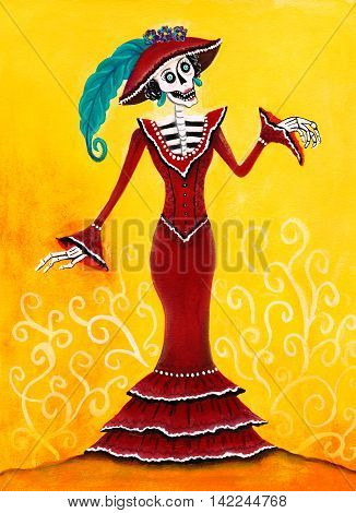 Day of the Dead Catrina Skeleton Mexican Elegant Death illustration