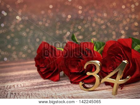 birthday concept with red roses on wooden desk. 3D render - thirty-fourth birthday. 34th
