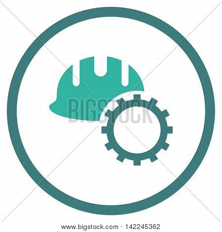 Development Hardhat vector icon. Style is bicolor flat rounded iconic symbol, development hardhat icon is drawn with cobalt and cyan colors on a white background.