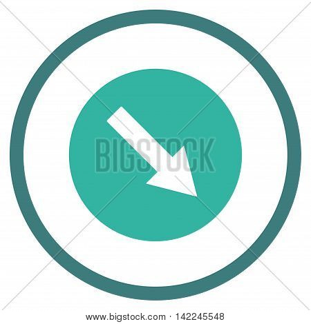 Down-Right Rounded Arrow vector icon. Style is bicolor flat rounded iconic symbol, down-right rounded arrow icon is drawn with cobalt and cyan colors on a white background.