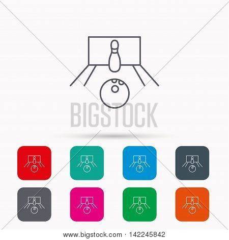 Bowling icon. Skittle or pin with ball sign. Competition sport symbol. Linear icons in squares on white background. Flat web symbols. Vector