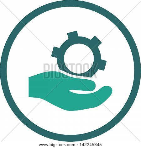 Engineering Service vector icon. Style is bicolor flat rounded iconic symbol, engineering service icon is drawn with cobalt and cyan colors on a white background.