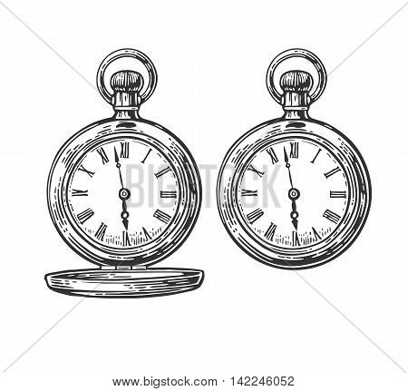 Antique pocket watch. Vector vintage engraved illustration. Isolated on white background.