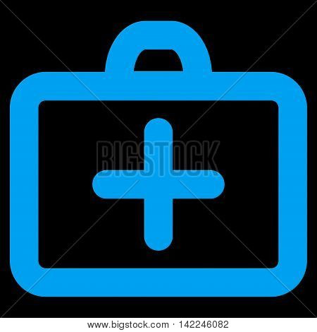 First Aid vector icon. Style is outline flat icon symbol, blue color, black background.