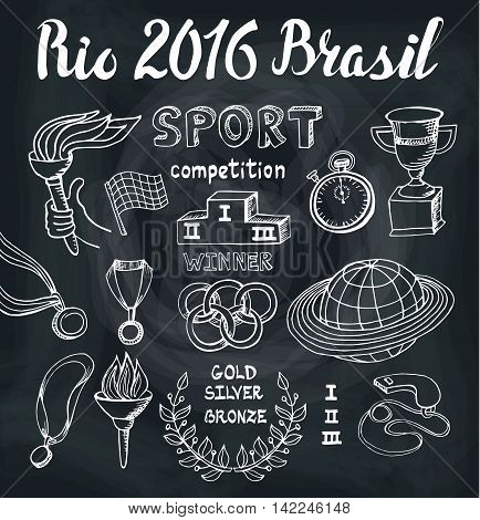 Brasil, Rio 2016 set.Sport doodle elements, lettering. Vector Winner of the competition set.Hand drawing sketch.Cup, medal, sport equipment icons. Handwriting numbers and words.Chalkboard