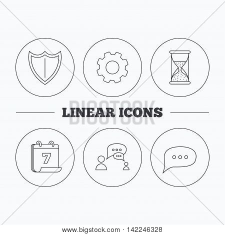 Dialog, chat speech bubbles and shield icons. Protection, hourglass linear signs. Flat cogwheel and calendar symbols. Linear icons in circle buttons. Vector
