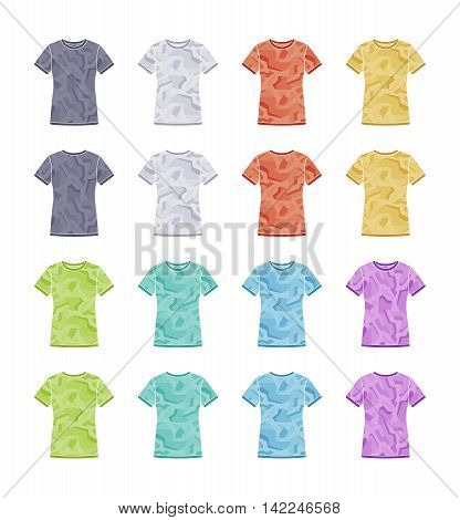 Female colored short sleeve t-shirts with the geometric camouflage templates collection. Front and back views. Vector flat illustrations
