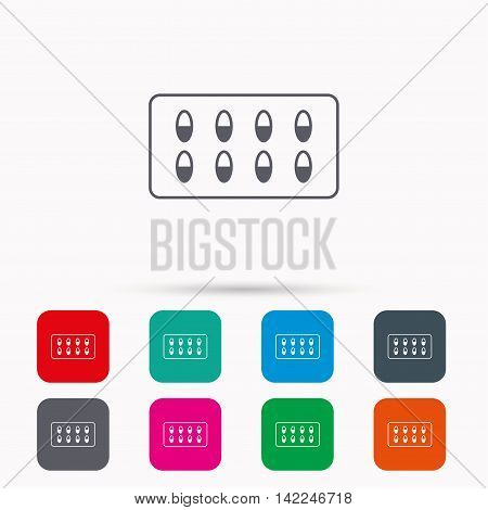 Medical capsules icon. Medicine drugs sign. Linear icons in squares on white background. Flat web symbols. Vector