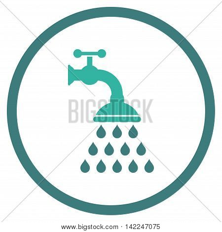 Shower Tap vector icon. Style is bicolor flat rounded iconic symbol, shower tap icon is drawn with cobalt and cyan colors on a white background.
