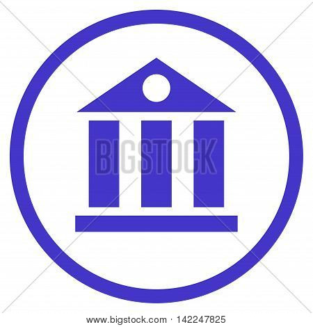 Bank Building vector icon. Style is flat rounded iconic symbol, bank building icon is drawn with violet color on a white background.