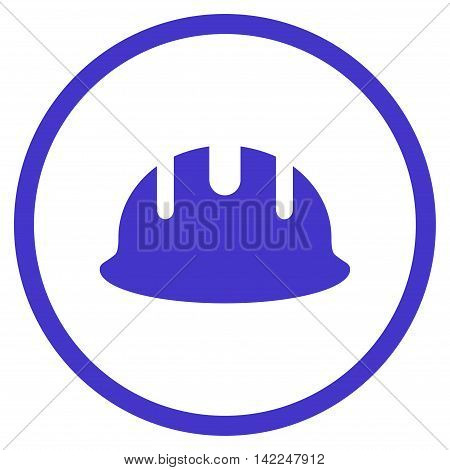 Builder Hardhat vector icon. Style is flat rounded iconic symbol, builder hardhat icon is drawn with violet color on a white background.