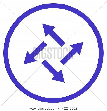 Centrifugal Arrows vector icon. Style is flat rounded iconic symbol, centrifugal arrows icon is drawn with violet color on a white background.