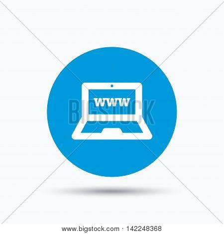 Computer icon. Notebook or laptop pc symbol. Blue circle button with flat web icon. Vector