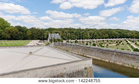 Royal medieval french castle and garden. Chenonceaux Loire Valley France Europe. Unesco heritage site. Built (1513-1521) as a pleasure palace during the Renaissance by several aristocratic women.