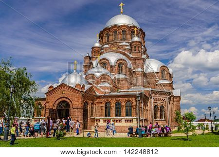 Island Sviyazhsk, Russia - June 12, 2016: joy of all who sorrow Cathedral on the island of Sviyazhsk.