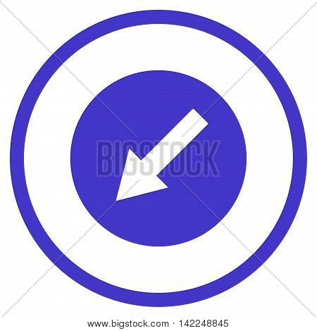 Down-Left Rounded Arrow vector icon. Style is flat rounded iconic symbol, down-left rounded arrow icon is drawn with violet color on a white background.