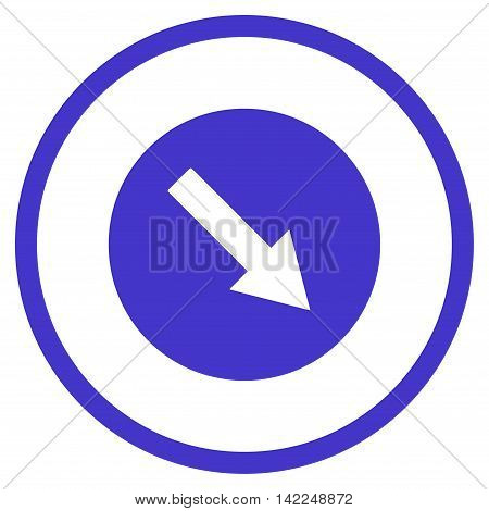 Down-Right Rounded Arrow vector icon. Style is flat rounded iconic symbol, down-right rounded arrow icon is drawn with violet color on a white background.
