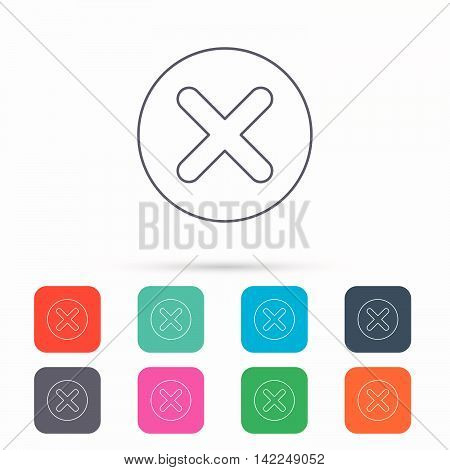 Delete icon. Decline or Remove sign. Cancel symbol. Linear icons in squares on white background. Flat web symbols. Vector