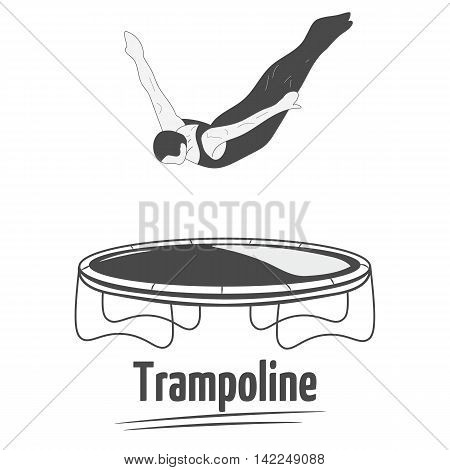 Man jumping on the trampoline. Trampoline icon. Silhouette woman. Logo design.