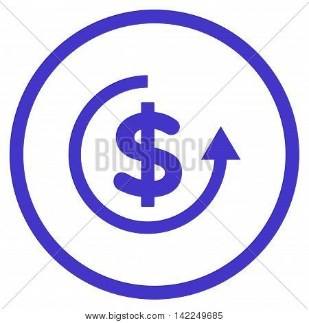 Refund vector icon. Style is flat rounded iconic symbol, refund icon is drawn with violet color on a white background.
