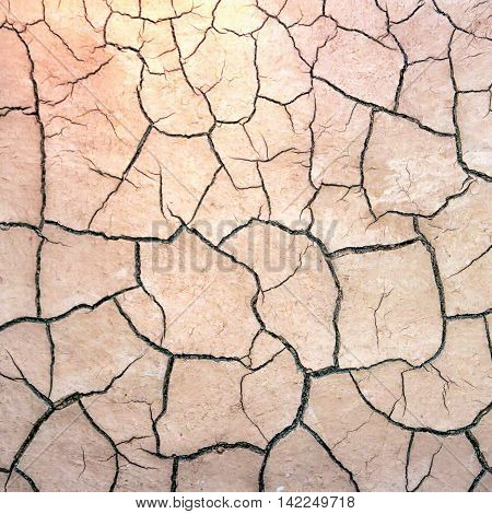 texture of the crackled white clay in the desert