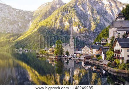 Beautiful View Of Alpine Hallstatt Town And Hallstattersee Lake. Salzkammergut, Austria.