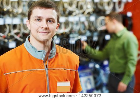 portrait of caucasian hardware store salesman