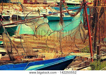 Sete Herault France : Fishing nets in La Pointe Courte: A Fishermen's district (village) of Sete