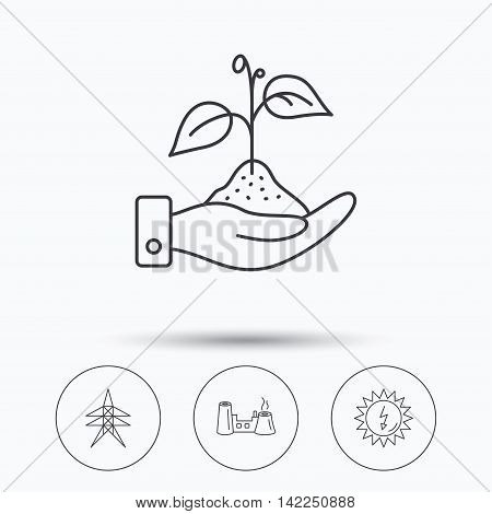 Electricity station, factory and solar energy icons. Save nature linear sign. Linear icons in circle buttons. Flat web symbols. Vector
