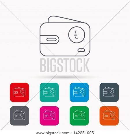Euro wallet icon. EUR cash money bag sign. Linear icons in squares on white background. Flat web symbols. Vector