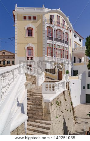 Mahon/Spain. 21st June 2012. Tourists roam the streets and lanes of Mahon in Menorca on a warm summer's day.
