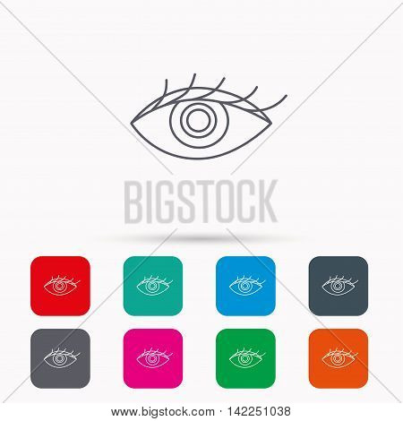 Eye icon. Human vision sign. Ophthalmology symbol. Linear icons in squares on white background. Flat web symbols. Vector