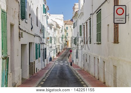 The streets and lanes of Mahon in Menorca