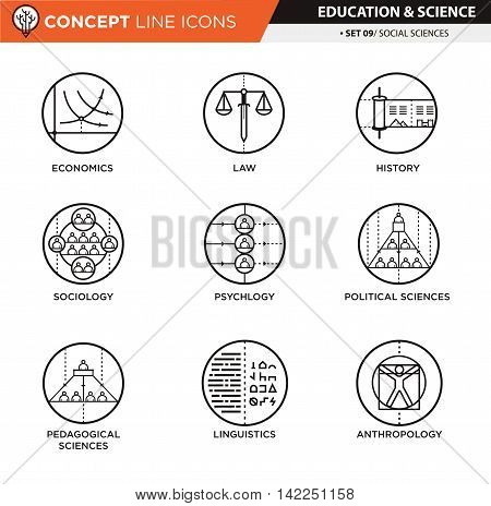 Social sciences theme in white isolated icons used for school and university education and document decoration, create by vector