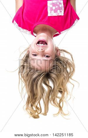 A Little girl with upside down head